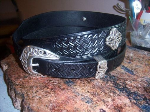 Custom Made Celtic Belt And Buckle With Silver Conchos, Hand Tooled, Hand Made
