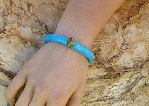 Custom Made Brass Heart Turquoise Licorice Leather Bracelet