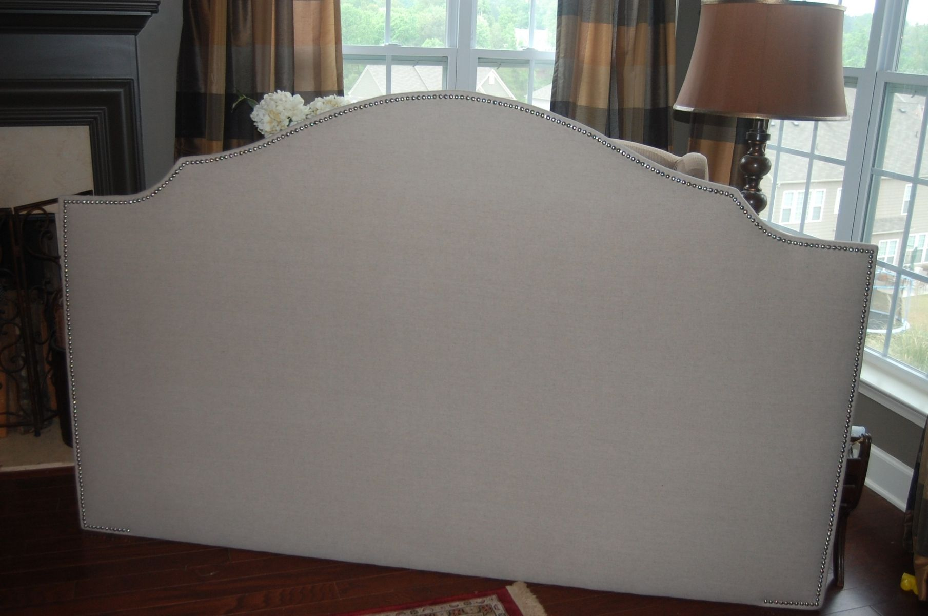 Custom Made Notched Upholstered Headboard Natural Linen Silver Nickel Nail Head