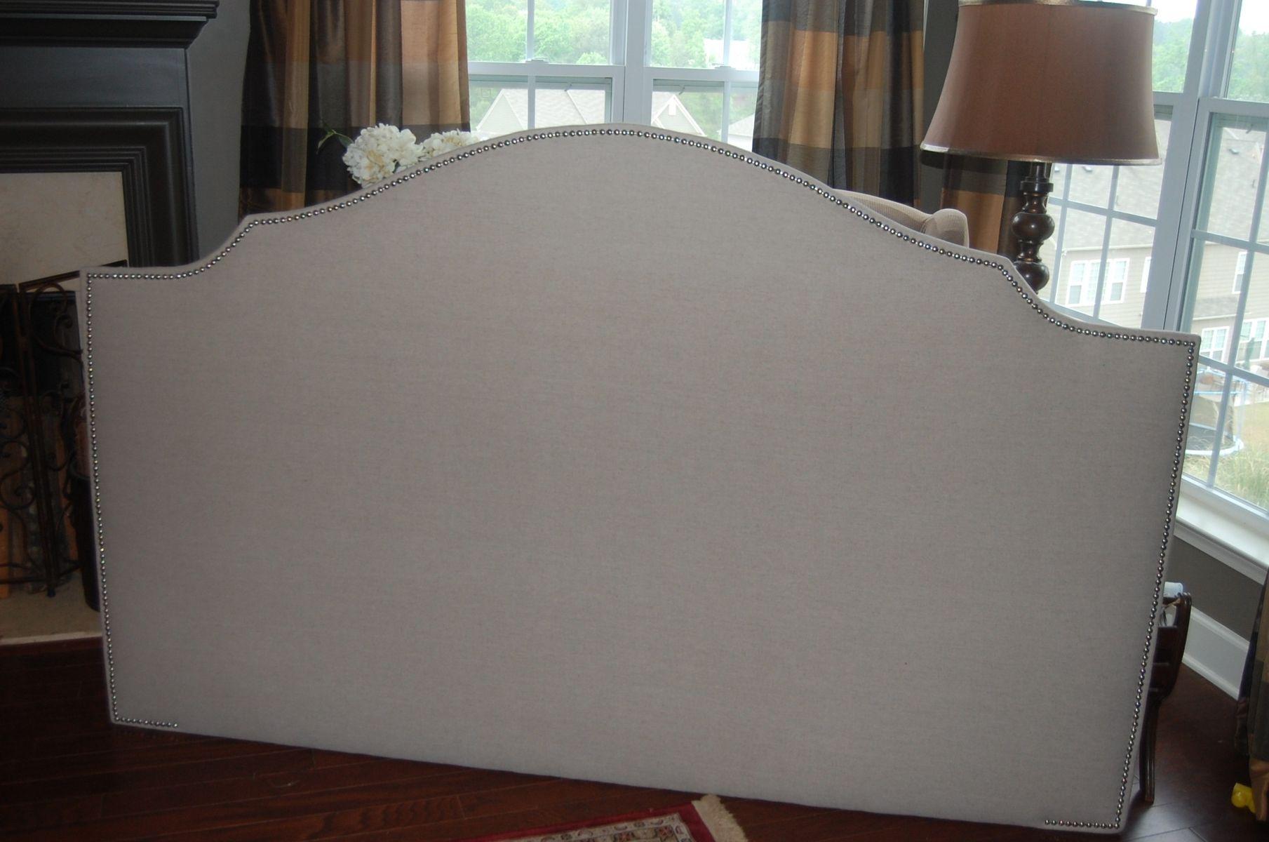 Custom Upholstered Headboards custom notched upholstered headboard, natural linen, silver nickel