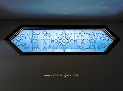 Custom Made Stained Glass Room Divider- Beveled Glass With Clear Textured Glass