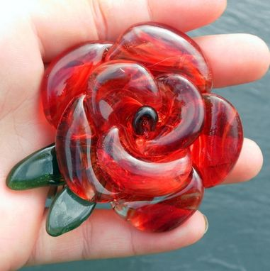 Custom Made Bottle Stopper Glass Rose Red Flower Stainless Steel