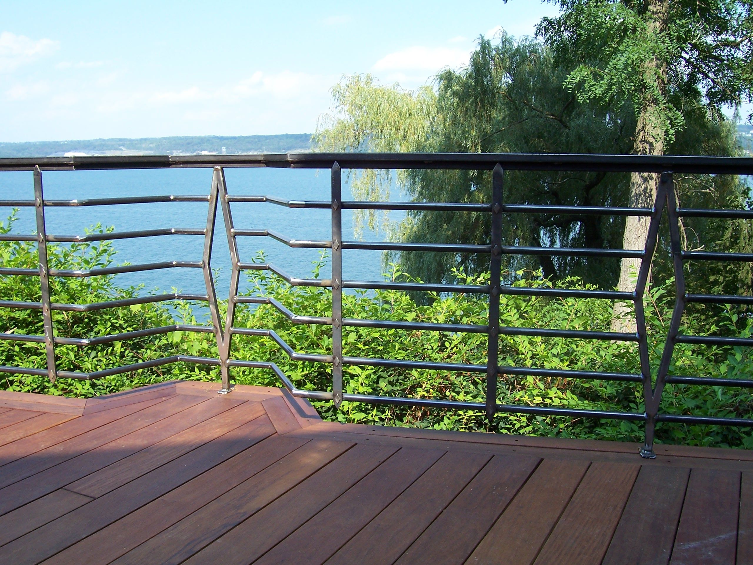 Hand made redwood deck railings lake house by kv weld art custom made redwood deck railings lake house baanklon Image collections