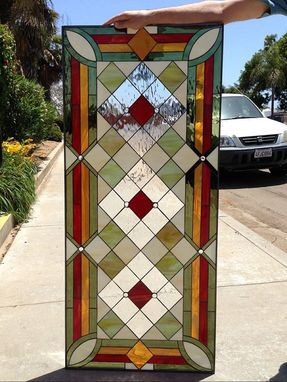 Custom Made Magnificent! Geometric Diamond Stained Glass Window
