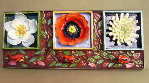 Custom Made Flower Box Trio Wall Hanging , Home Or Garden Decor Mosaic Sculpture