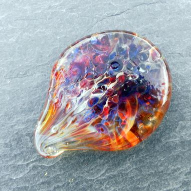 Custom Made Guitar Pick Handblown Glass Lampwork Deep Amber Purple Frit