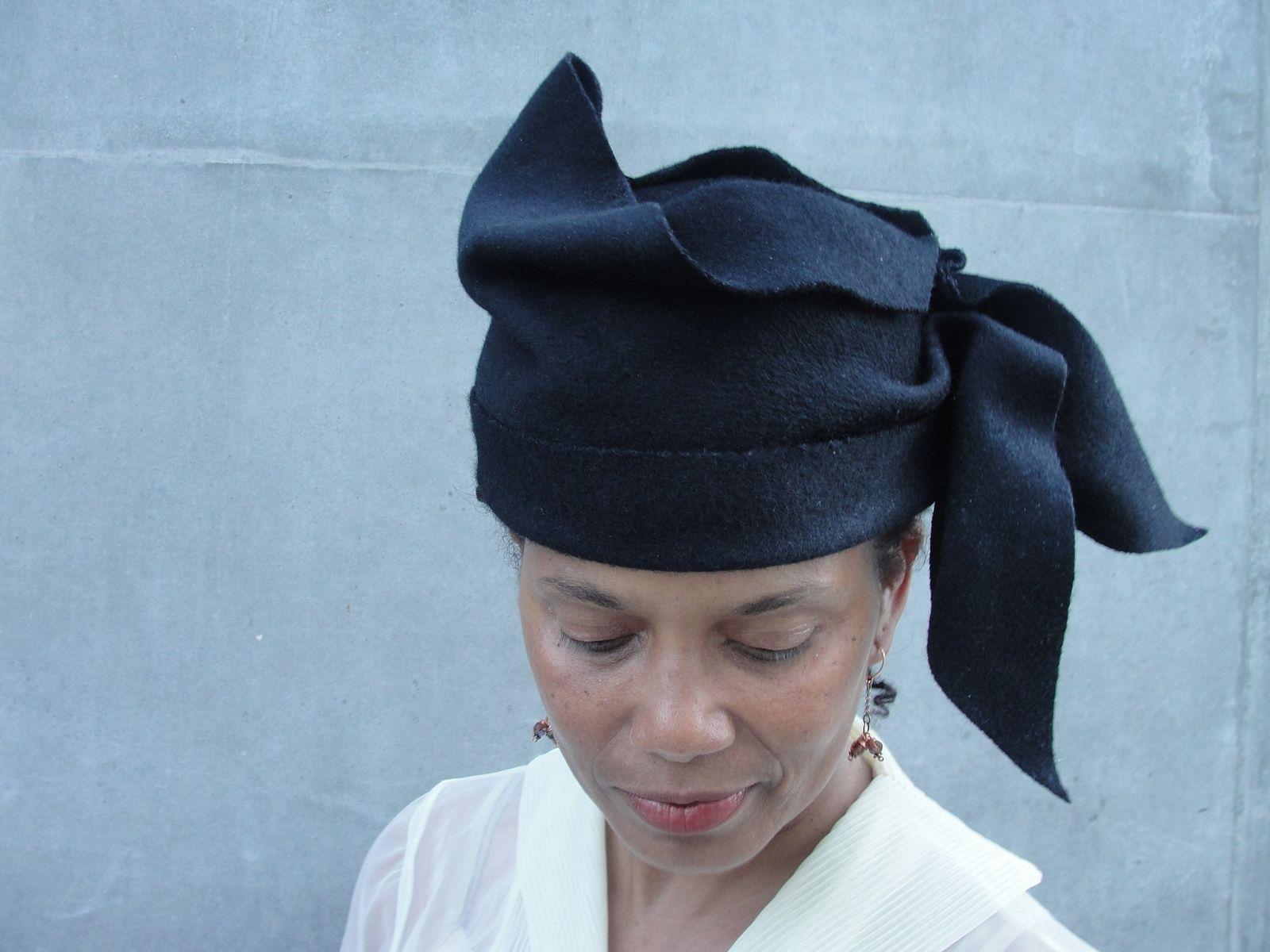 Custom Made Ladies Cloche Hat-Black Wool Felt Hat - Women s Draped Hat-  1910s 6cfd0d05f45
