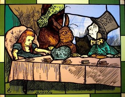 Custom Made Alice In Wonderland Tenniel Stained Glass