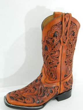 Custom Made Hand Tooled And Inlayed Men Cowboy Boots Square Toe Made To Order