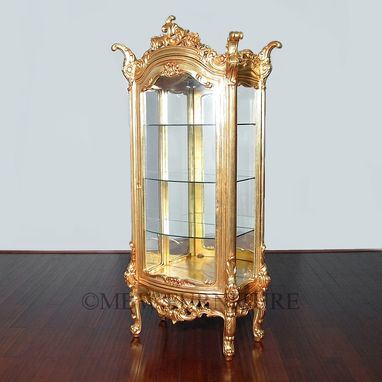Custom Made 7ft Tall Solid Mahogany Gold French Curio Display Cabinet