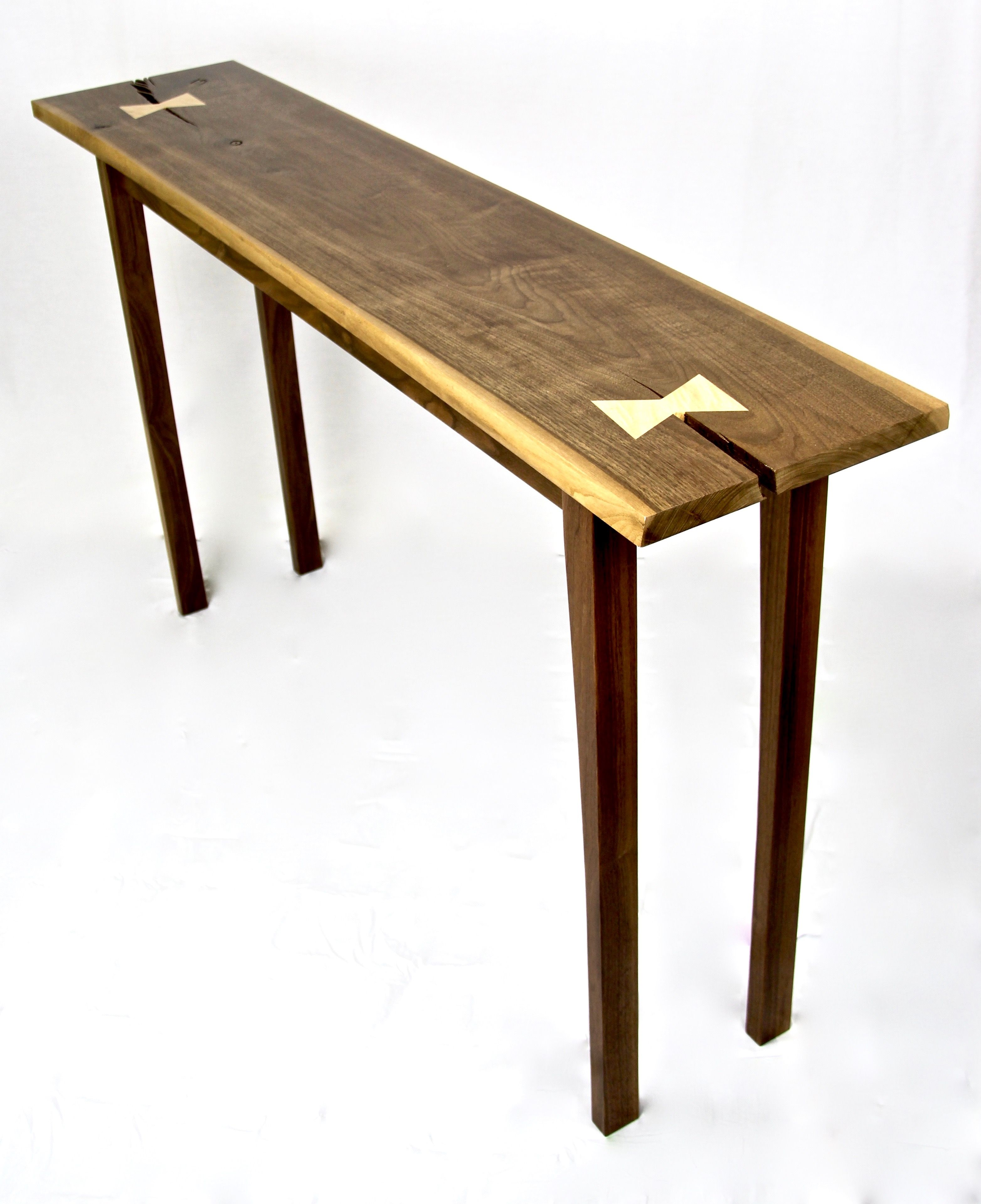 Handmade live edge walnut console table with tiger maple butterfly custom made live edge walnut console table with tiger maple butterfly tenons geotapseo Image collections