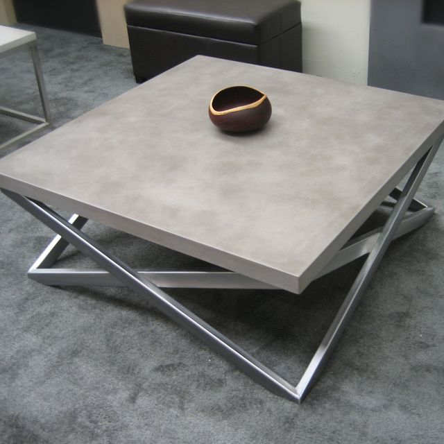 Custom Mobius Concrete Coffee Table By Trueform Concrete - Concrete and chrome coffee table