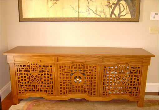 Custom Made Asian Solid Teak Console  With Air Filtering Fan