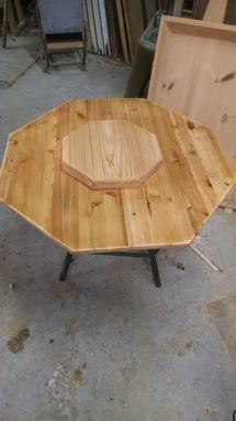 Custom Made Octagan Shaped Conversation Pit Table, Lazy Susan