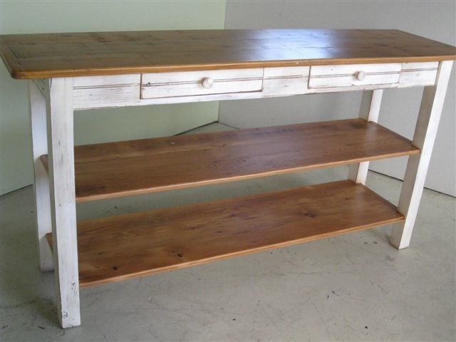 Custom Made Barnwood Kitchen Island With 2 Shelves By