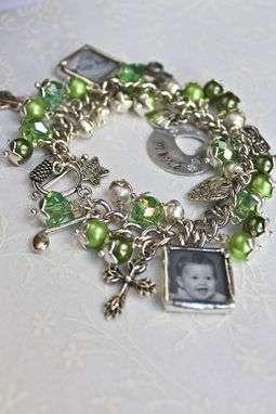 Custom Made Charm Bracelet With Birthstone Colors, Photo Charms And Hand Stamped Charm