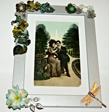 Custom Made Customized Frame,Ooak, For 13x18 Cm Picture, Silver Wood, Flowers, Porcelain