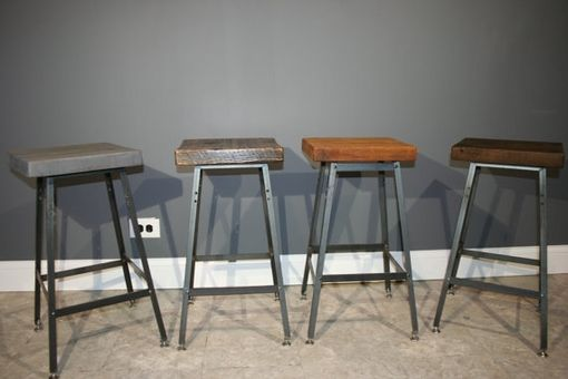 Custom Made Bar Stools - Urban Reclaimed Wood Industrial Modern Bar Stool-Hademade Salvaged Barn Wood