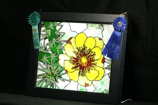 "Custom Made ""Desert Bloom"" Stained & Fused Glass Panel"