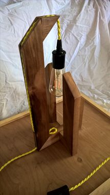 Custom Made Wood Table Lamp With Edison Bulb