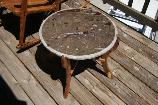 Custom Made Marble Table With Fossils On Mesquite Base