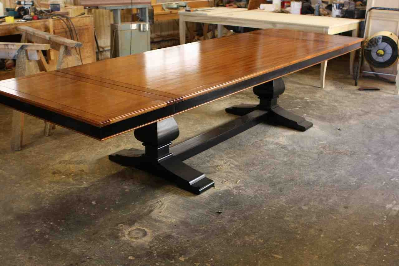 Hand crafted custom mahogany wood trestle dining table for Unique wood dining room tables