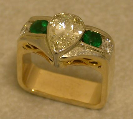 Custom Made Diamond And Emerald Dinner Ring