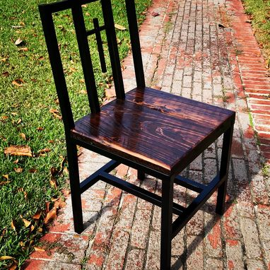 Custom Made Chair Metal With Reclaimed Cypress