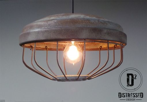 Custom Made Repurposed Chicken Feeder Pendant Light, Edison Bulb Included