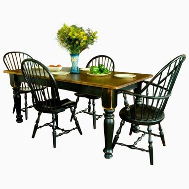 Custom Made Pine Farmhouse Dining Table & Six Chairs