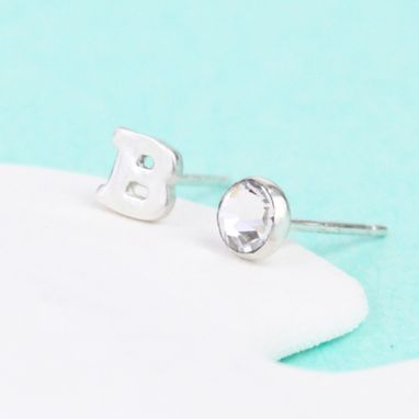 Custom Made Initial Earrings With Crystal