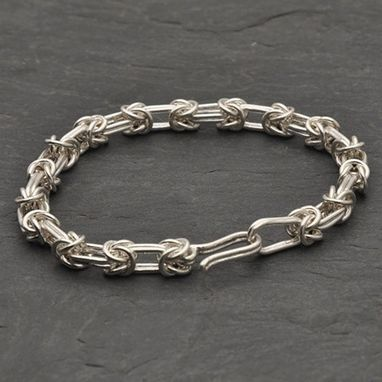 Custom Made Sterling And Fine Silver Byzantine Chain Bracelet