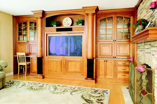 Custom Made Cherry And Maple Wall Unit