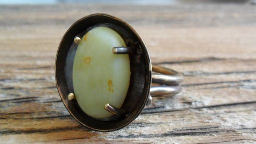 Custom Made Brass Double-Band Ring With Olive Jade Cabochon