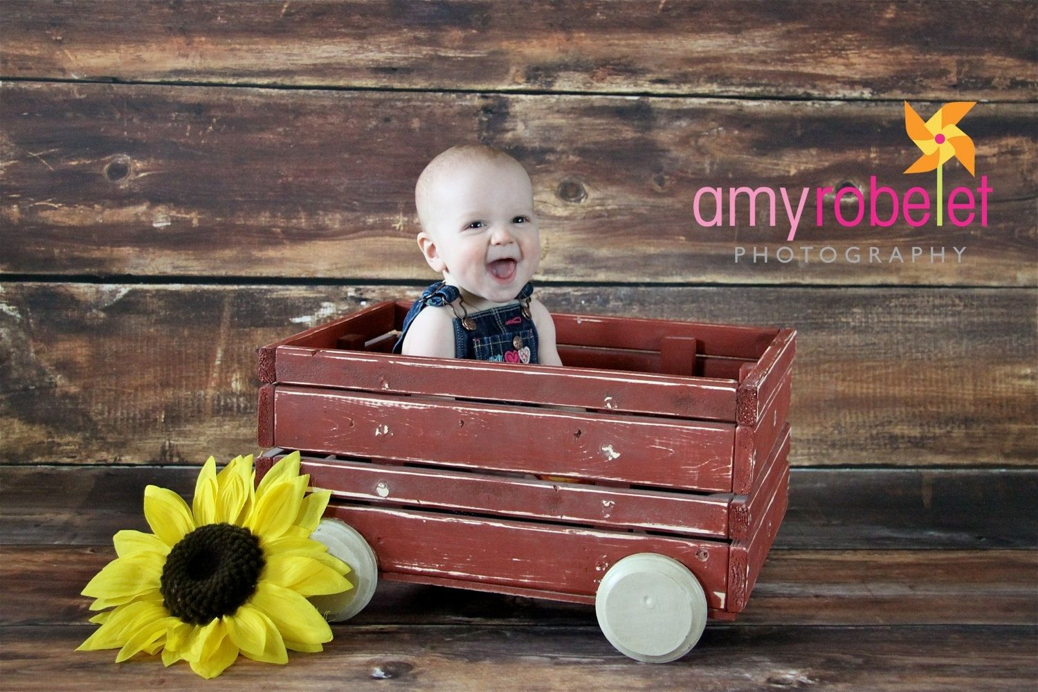 Custom made photo prop wagon rustic red child or newborn photography prop country prop