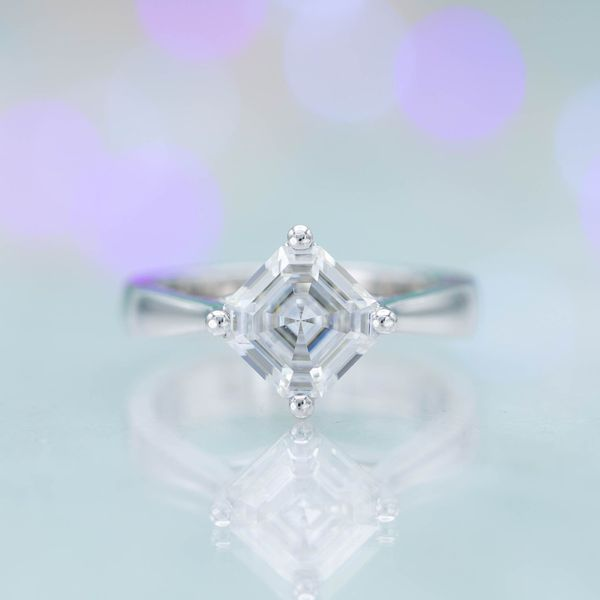 An asscher cut moissanite will look quite sparkly, even though the cut is not designed to maximize brilliance.