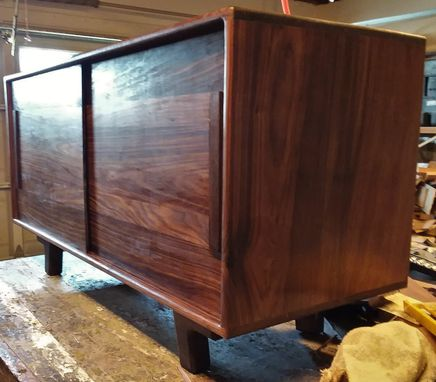 Custom Made Solid Walnut Media Cabinet