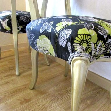 Custom Made Victorian Balloon-Back Chairs Refinished In Gold With Butterflies