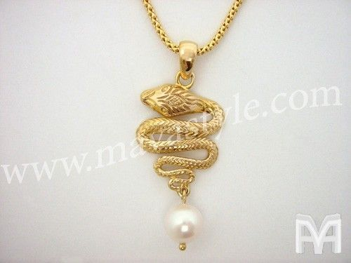 Custom Made Gold Snake Python Pendant Necklace With Pearl & Chain