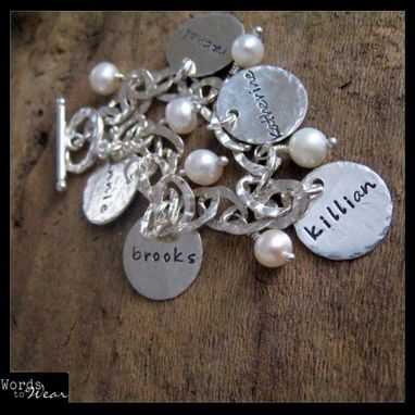 Custom Made Custom Hand Stamped Hammered Name Charm Bracelet With Pearls