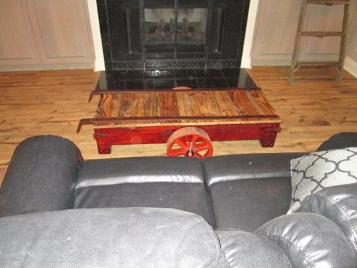 Custom Made Industrial Rail Road Cart Coffee Table
