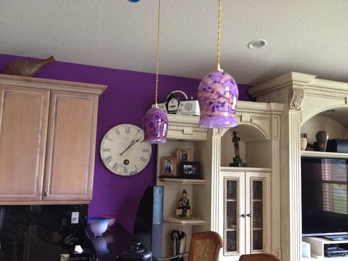 Custom Made Hand Blown Art Glass Pendant Light, Ceiling Lighting