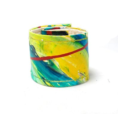 Custom Made Bright Blue And Sunshine Yellow Hand Painted Cuff Bracelet - Made With Organic Hemp Linen & Paint
