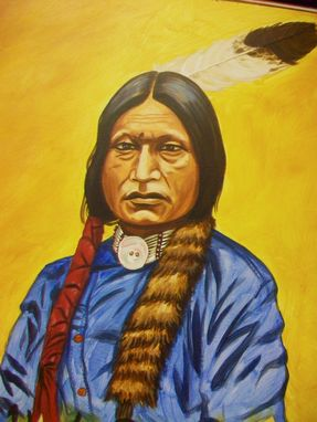 Custom Made Acrylic On Board Portrait For A Mural (3' X 8' Board Includes 2portraits): Indians 1