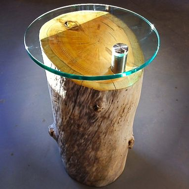 Custom Made Driftwood Log Glass Table