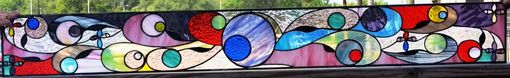 "Custom Made Stained Glass Transom - ""Flowing Colors"" (Tw-67)"