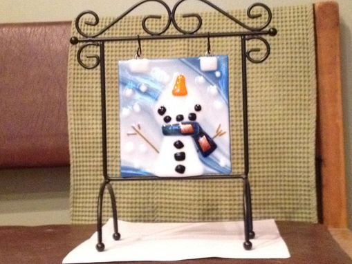Custom Made Fused Glass Snowman Panel Catching Flakes With Metal Scroll Stand.