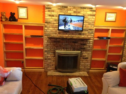 Custom Made Built In Shelving Around Fireplace