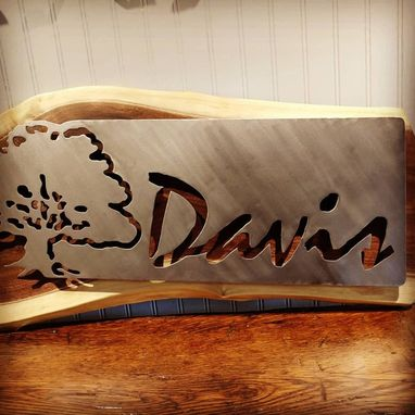 Custom Made Metal And Wood Name Sign