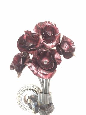 "Custom Made ""Greasing The Gears"" Hand Forged Poppy Flowers And Reclaimed Gears"